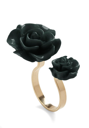 Retro Rosie Ring in Black - Black, Gold, Solid, Flower, Fairytale, Daytime Party