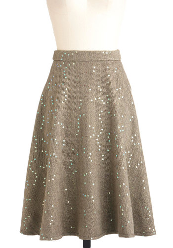 Soiree Among the Stacks Skirt - Brown, Herringbone, Sequins, A-line, Long, Work, Vintage Inspired