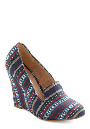 Woven with Wonder Wedge by Chelsea Crew - Multi, Red, Brown, White, Wedge, Blue, Casual, Folk Art, High