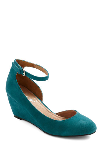 Walk on the Styled Side Wedge - Wedge, Green, Solid, Vintage Inspired, Mid