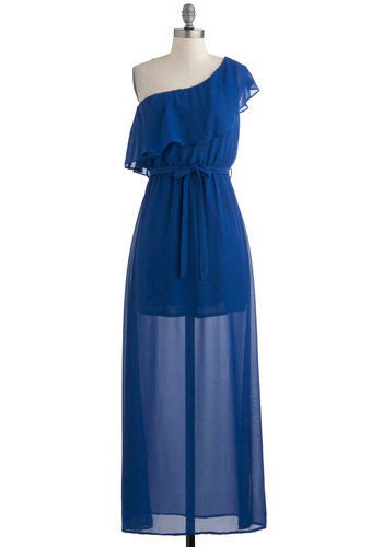 Sweet Dreams of Blue Dress - Long, Blue, Solid, Ruffles, Belted, Wedding, Party, Maxi, One Shoulder, Boho, Sheer, Summer