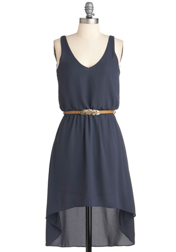 Flight Up the Night Dress - Short, Blue, Solid, Belted, High-Low Hem, Sleeveless, Casual, Summer, Spring