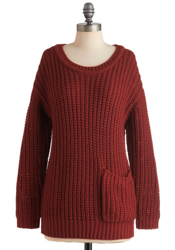 Apple Butter Breakfast Sweater - Red, Solid, Knitted, Pockets, Casual, Long Sleeve, Menswear Inspired, Rustic, Winter, Mid-length