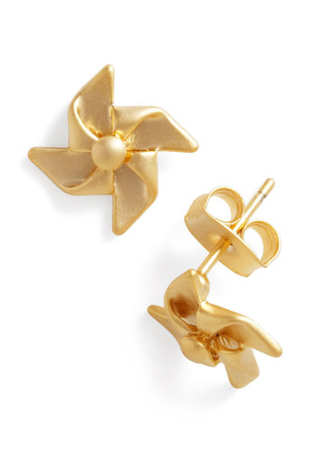 Take the Pinwheel Earrings - Gold, Solid, Casual