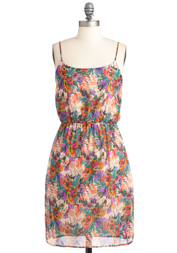 Jeanette's Stylish Collection Dress - Mid-length, Multi, Floral, Casual, Shift, Spaghetti Straps, Summer, Sheer