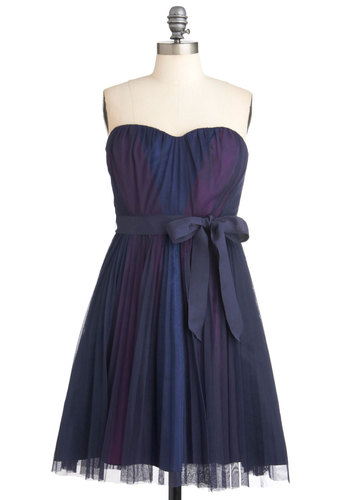 Mystery in the Night Dress by Max and Cleo - Multi, Blue, Purple, Belted, Wedding, Party, A-line, Strapless, Luxe, Mid-length, Boat, Fit & Flare, Prom, Bridesmaid