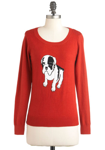 Dog On It Sweater - Red, Black, White, Knitted, Long Sleeve, Mid-length, Print with Animals, Casual, Quirky, Dog, Knit, Critters