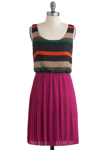 Perfect Palette Dress - Mid-length, Multi, Stripes, Pleats, Casual, Tank top (2 thick straps), Multi, Shift