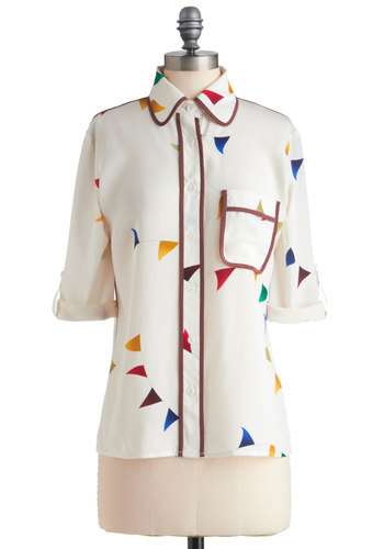 #1 Fanfare Top - Mid-length, Cream, Buttons, Pockets, Trim, Multi, Print, Work, Vintage Inspired, 80s, Exclusives, Button Down, Collared, French / Victorian, 3/4 Sleeve