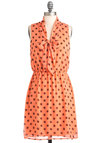Local Hotspot Dress - Mid-length, Orange, Black, Polka Dots, Tie Neck, Casual, A-line, Sleeveless, Summer, Coral