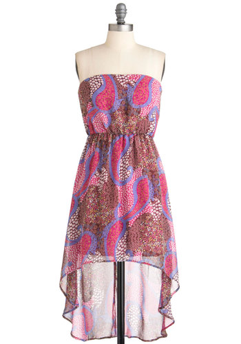 High-Low, I Love You Dress - Short, Multi, Paisley, Casual, High-Low Hem, Strapless, Summer, Boho, Sheer