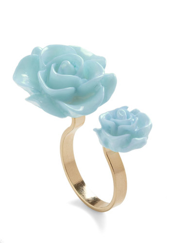 Retro Rosie Ring in Light Blue - Blue, Black, Flower, Fairytale, Pastel, Daytime Party, Variation