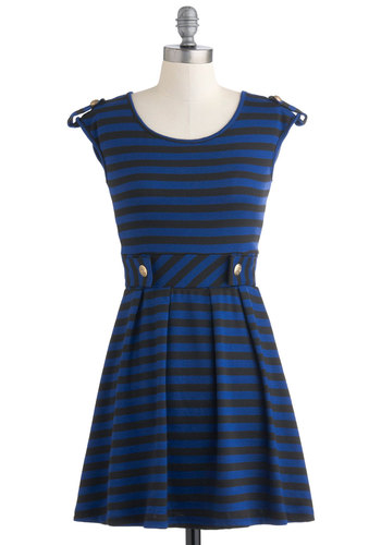 Good Afternoon Dress in Royal Blue - Black, Stripes, Pleats, Casual, A-line, Cap Sleeves, Blue, Epaulets, Fit & Flare, Tis the Season Sale, Variation, Military, Short