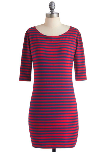 Give It a Tribeca Dress in Red - Red, Blue, Stripes, Casual, Shift, Long Sleeve, Short, Bodycon / Bandage, Red