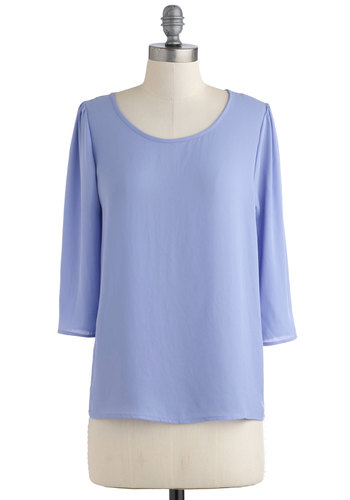 Pour Favor Top - Purple, Solid, 3/4 Sleeve, Mid-length, Pastel, Minimal