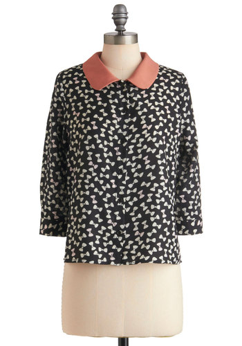 You Bow Me Well Top - Mid-length, Black, Pink, White, Buttons, Peter Pan Collar, Casual, Button Down, Collared, 3/4 Sleeve
