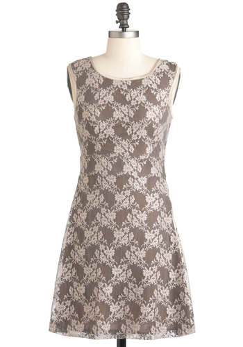 Architect Savvy Dress - Short, Tan / Cream, Backless, Bows, Lace, Wedding, Party, A-line, Sleeveless, Grey, Floral, Cocktail, Daytime Party