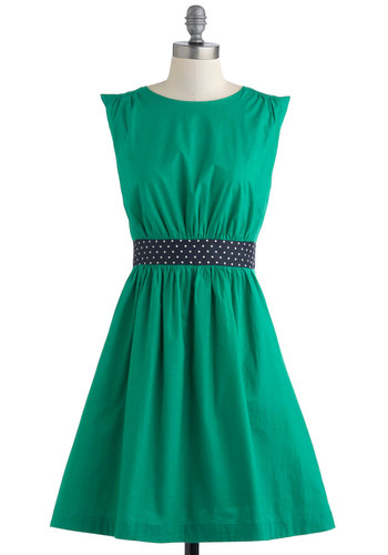 Too Much Fun Dress in Green by Emily and Fin - Green, Blue, Solid, Polka Dots, Party, Sleeveless, Mid-length, Pockets, Fit & Flare, Vintage Inspired, Cotton, International Designer, Variation, Pinup, Basic