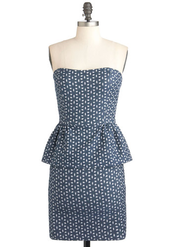 Yacht Frock Dress - Blue, White, Print, 80s, Strapless, Fall, Peplum, Mid-length, Party
