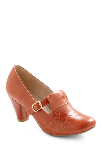 Class Treasurer Heel by Chelsea Crew - Tan, Solid, Mid, Mary Jane, Fall, Scholastic/Collegiate, Leather, Variation, Work, Gifts Sale