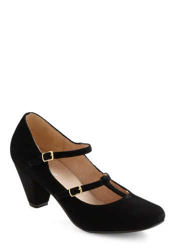 Play Us a Corduroy Heel by Chelsea Crew - Black, Solid, Film Noir, Mid, Mary Jane, Holiday Party, 20s