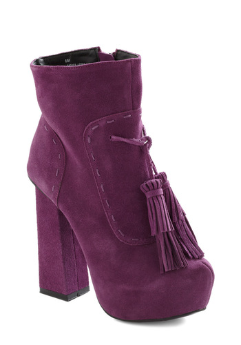 San Fran Disco Boot - Purple, Solid, Tassels, High, Platform, Chunky heel, Party, 70s, Statement, Leather, Tis the Season Sale