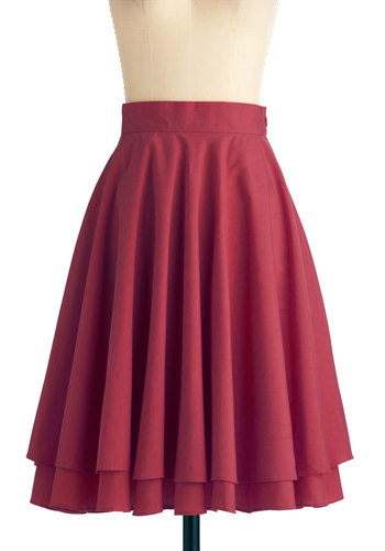Effortless is More Skirt in Burgundy - Work, Casual, Vintage Inspired, Red, Solid, Tiered, Long, A-line, Exclusives, Fit & Flare, Tis the Season Sale, Variation