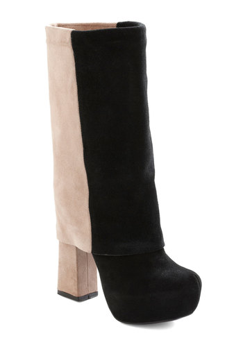 Got a Fold on Me Boot - Tan, Black, Solid, Party, 60s, Statement, Mod, Leather, Platform, High, Tis the Season Sale
