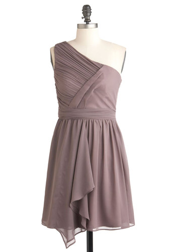 Over Dessert Dress - Short, Solid, Ruching, Wedding, Party, One Shoulder, Purple, Shift, Prom, Bridesmaid