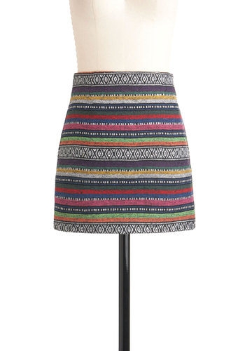 Festival of Style Skirt - Short, Multi, Casual, Mini, Folk Art, Bodycon / Bandage
