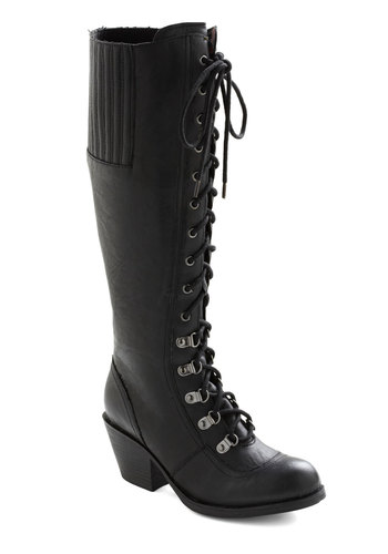 Rock Me to the Office Boot - Black, Solid, Mid, Lace Up, Casual, Military, Fall, Faux Leather, Steampunk