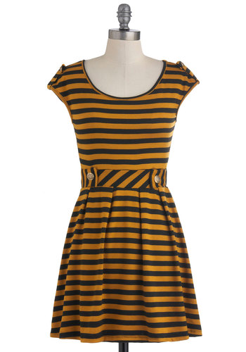 Good Afternoon Dress in Mustard - Black, Stripes, Pleats, Casual, A-line, Cap Sleeves, Epaulets, Yellow, Fit & Flare, Variation, Short