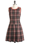 It's All School Dress - Mid-length, Multi, Red, Tan / Cream, Black, Plaid, Pleats, Trim, Casual, A-line, Sleeveless, Fall, Scholastic/Collegiate