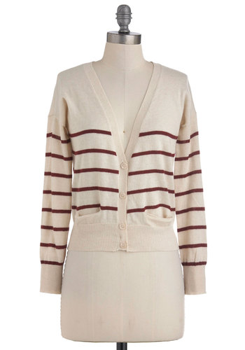 Cherry Granola Cardigan - Short, Tan, Red, Stripes, Buttons, Pockets, Casual, Long Sleeve, Fall