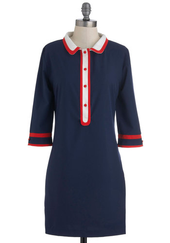 Flight of Day Dress - Blue, White, Buttons, Casual, Shirt Dress, Long Sleeve, Mid-length, Red, Solid, Fall, Menswear Inspired, Mod, Scholastic/Collegiate, Button Down, Collared
