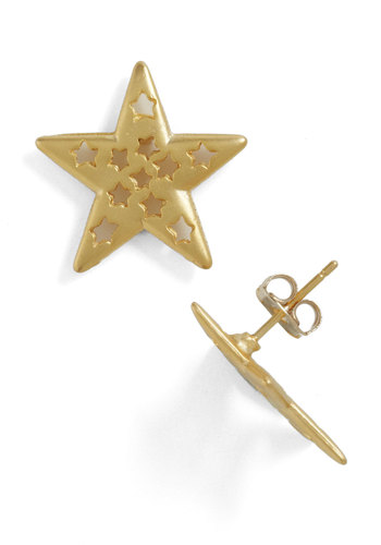 Shining Style Earrings - Gold, Solid, Cutout