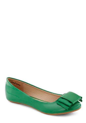Stylish Study Break Flat in Green - Green, Solid, Bows, Flat, Casual, Faux Leather, Tis the Season Sale, Variation