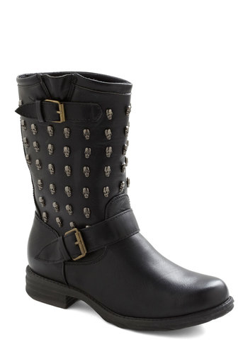 Rebel with a Cause Boot - Black, Buckles, Studs, 90s, Faux Leather, Low