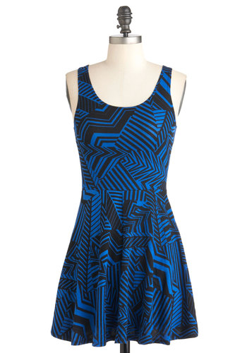 Back in a Flash Mob Dress - Blue, Black, Print, Casual, A-line, Tank top (2 thick straps), Summer, Short, Cotton, Scoop