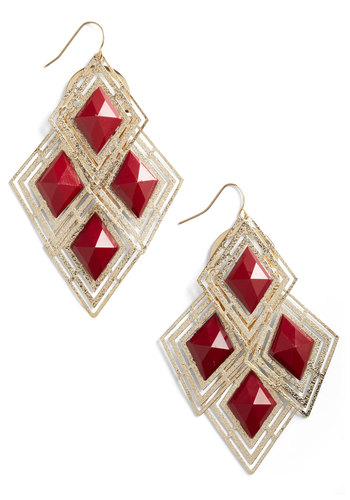 Spontaneous Date Earrings - Red, Gold, Party, Cocktail, Statement