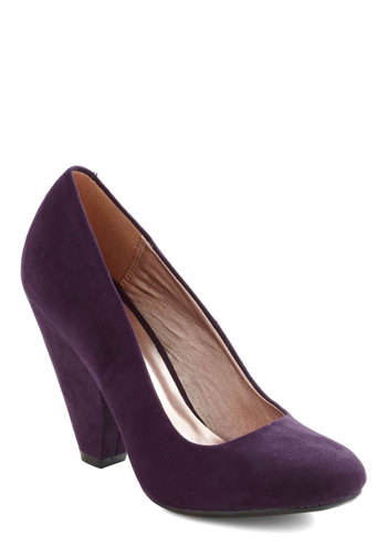 Everyday Energy Heel in Aubergine - Purple, Solid, High, Chunky heel, Work, Holiday Party, Faux Leather, Variation, Party