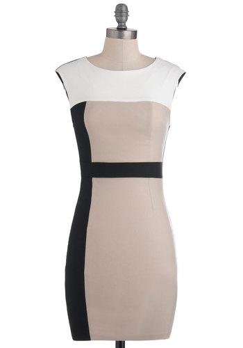 Music Business Meeting Dress - Multi, Tan / Cream, Black, Shift, Sleeveless, Short, White, Party, Girls Night Out, Bodycon / Bandage, Colorblocking