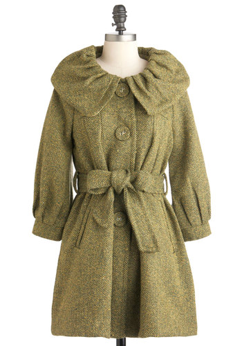 Garnish Your Glamour Coat - Green, Solid, Buttons, Pockets, Long, Party, Vintage Inspired, 50s, Fall, Winter, Belted, Holiday Party, 3