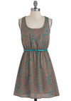Bubble-Blowing Contest Dress - Short, Brown, Blue, Print, Belted, Casual, A-line, Sleeveless