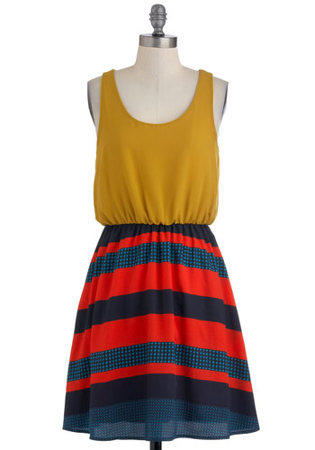 On the Plaza Dress - Yellow, Blue, Stripes, Casual, Twofer, Tank top (2 thick straps), Summer, Mid-length, Red, Nautical