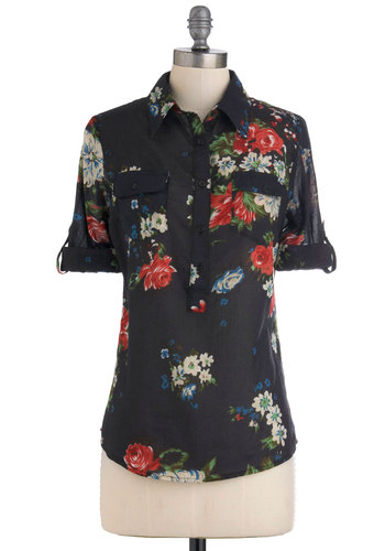 Blouse Party Top in Fall Floral - Black, Red, Green, Blue, White, Floral, Buttons, Pockets, Long Sleeve, Cotton, V Neck, Sheer, Mid-length, Work, Black, Tab Sleeve