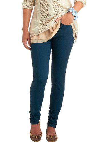 Spring in Every Season Jeans in Teal - Blue, Solid, Buttons, Pockets, Casual, Skinny, Denim, Cotton, Variation