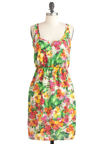 Painting in the Garden Dress - Multi, Floral, Casual, Summer, Mid-length, Pockets, Sheath / Shift, Sleeveless, Multi, Beach/Resort