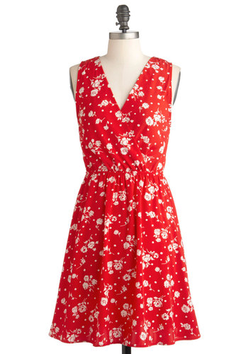 Stroll through Roseville Dress - Red, Floral, A-line, Sleeveless, Mid-length, White, Casual, Daytime Party, V Neck