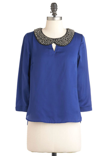 Collar from Destiny Top - Blue, Solid, Beads, Cutout, Peter Pan Collar, Pleats, Vintage Inspired, Long Sleeve, Mid-length, Party, Collared